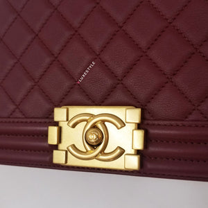 Chanel Le Boy New Medium 17C Burgundy Quilted Calfskin with brushed gold hardware