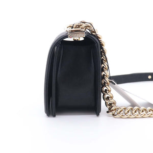 Chanel Small Le Boy 20A Black Chevron Caviar with shiny light gold hardware
