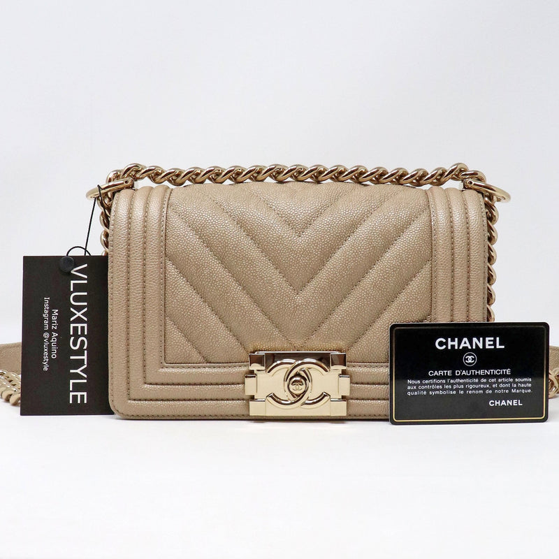 RESERVED Chanel Small Le Boy 18A Iridescent Pearly Beige Chevron Caviar with shiny gold hardware