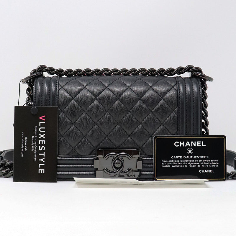 Chanel Small Le Boy 17S So Black Quilted Caviar with shiny black hardware