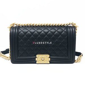 Chanel Le Boy Old Medium Black Quilted Calfskin with brushed gold hardware