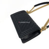 Chanel 18K Le Boy Old Medium Black Chevron Caviar with brushed gold hardware