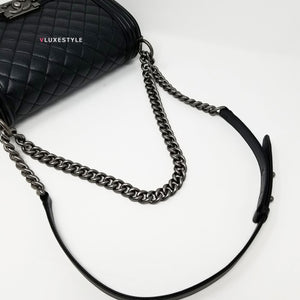 Chanel 2018 Le Boy Old Medium Black Quilted Caviar with ruthenium hardware