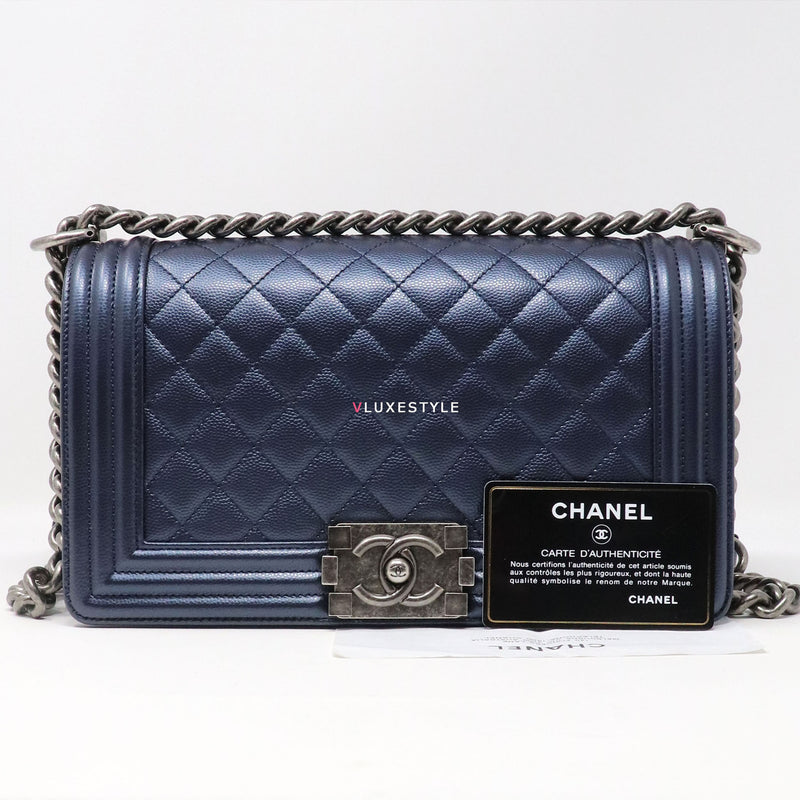 Chanel Le Boy Old Medium Metallic Navy Quilted Caviar with ruthenium hardware
