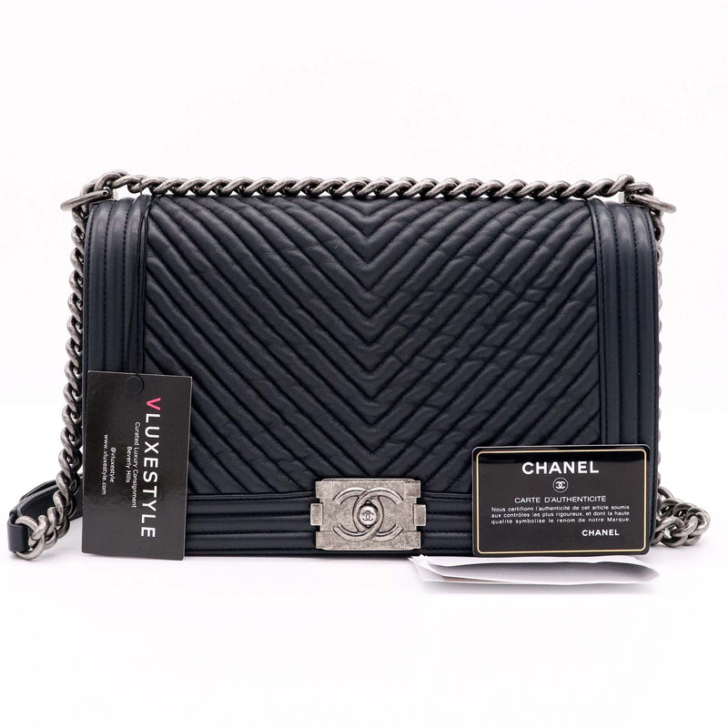 Chanel Le Boy New Medium Navy Chevron Calfskin with ruthenium hardware
