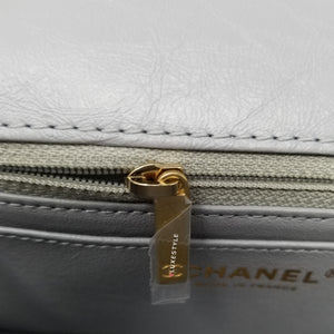 Chanel 20P Mini Reissue Grey Quilted Aged Calfskin with brushed gold hardware