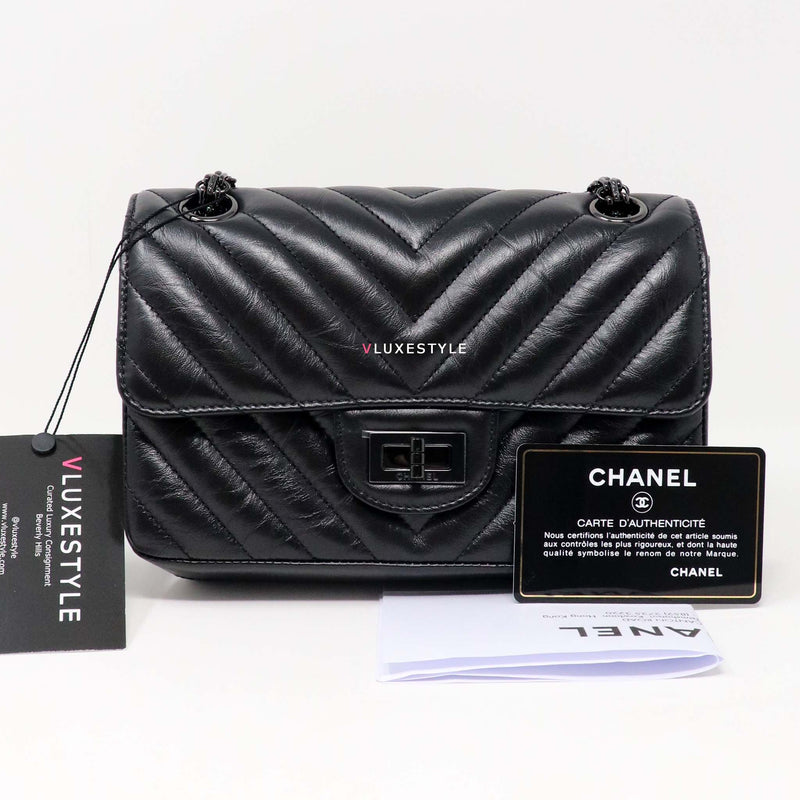 Chanel Mini Reissue 20A Black Aged Chevron Calfskin with shiny black hardware