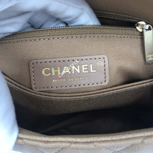 Chanel Mini Coco Handle 19A Dark Beige Quilted Caviar with brushed gold hardware