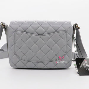 Chanel Flap Bag 20S Gray Quilted Calfskin with ruffle strap