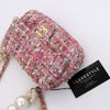 Chanel Mini Flap Pearl Handle Tweed Pink with light gold hardware