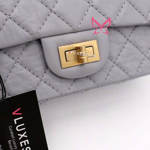 Chanel Mini Reissue 20P Gray/Grey Aged Quilted Calfskin with brushed gold hardware