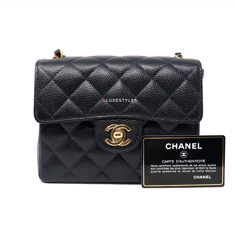 Chanel Classic Mini Square Black Quilted Caviar with 24k gold plated hardware
