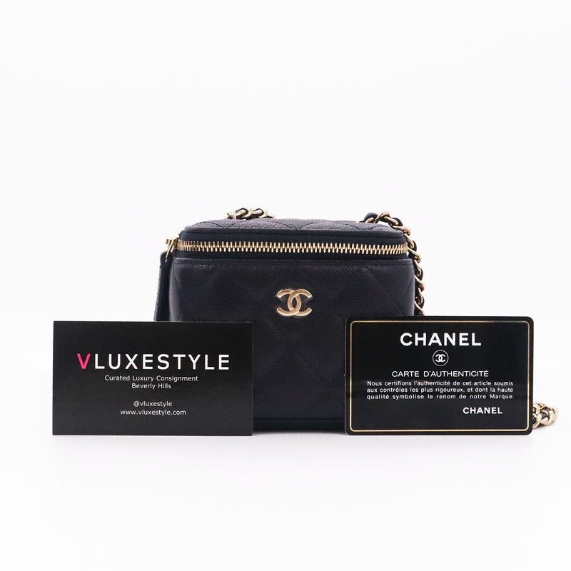 Chanel Mini Vanity Case Navy Quilted Caviar with light gold hardware