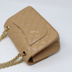 Chanel 19A Mini Reissue Beige Quilted Aged Calfskin with shiny gold hardware