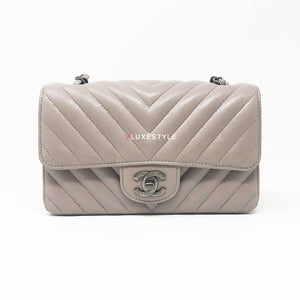 Chanel 18B Mini Rectangular Taupe Glazed Calfskin with ruthenium hardware