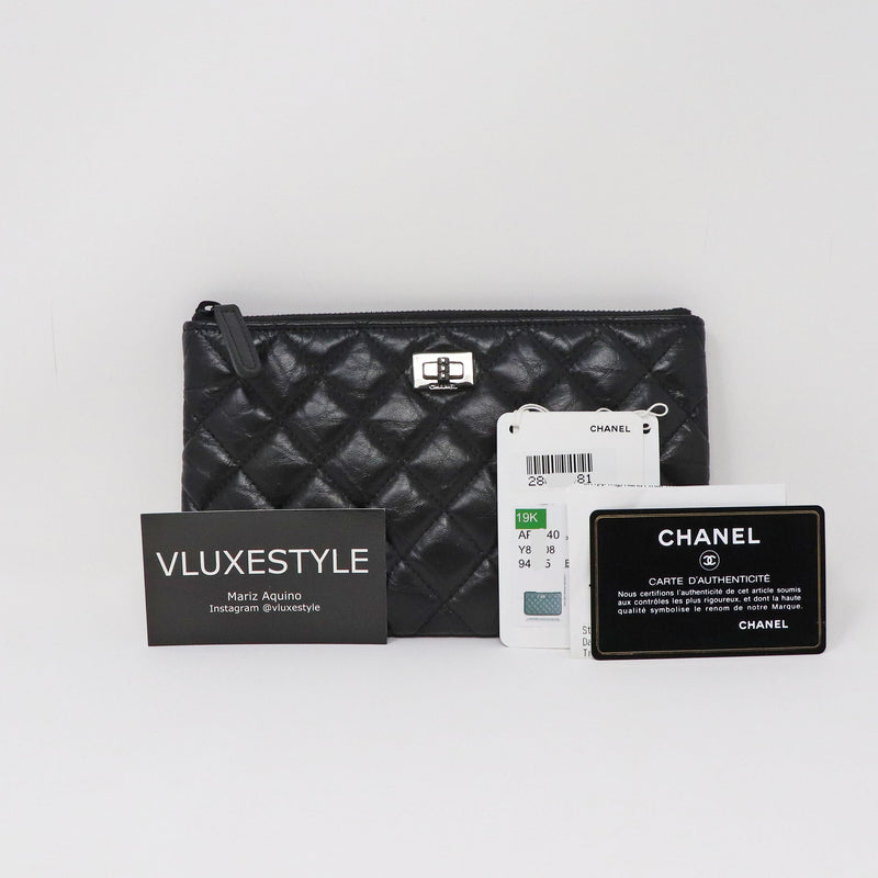 Chanel 19K O Case So Black Reissue Aged Quilted Calfskin with shiny black hardware