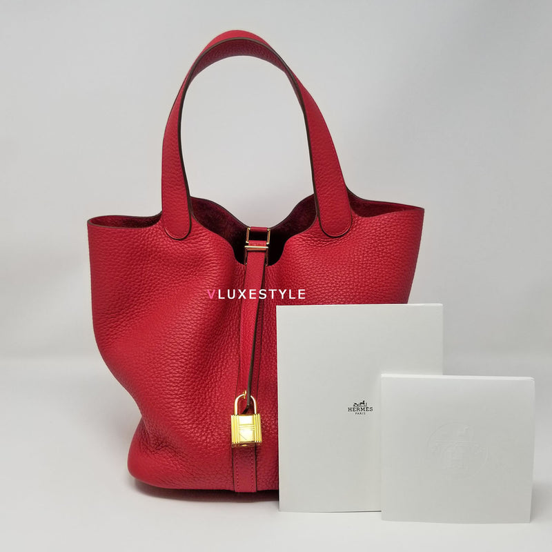 Hermes Picotin 22 MM Rouge Casaque Clemence