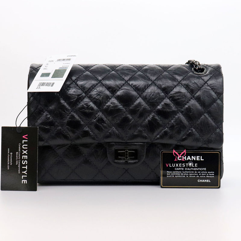 Chanel Reissue 226 Double Flap 16K So Black Quilted Calfskin with shiny black hardware