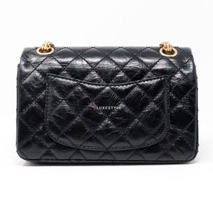 Chanel Reissue Double Flap 224 Black Quilted Aged Calfskin with brushed gold hardware