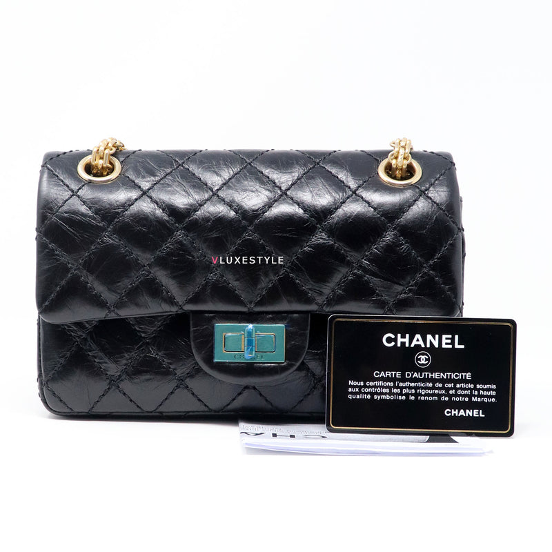 RESERVED Chanel Reissue Double Flap 224 Black Quilted Aged Calfskin with brushed gold hardware