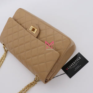 Chanel Reissue Double Flap 19A Beige Quilted Calfskin with shiny gold hardware size 226