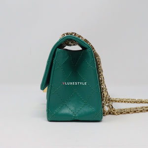Chanel Reissue Mini 19A Green Quilted Aged Calfskin with shiny gold hardware