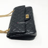 Chanel Reissue 2.55  Black Quilted Aged Calfskin Double Flap with aged gold hardware 225