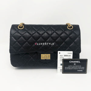 Reissue 2.55  Black Quilted Aged Calfskin Double Flap with aged gold hardware 225