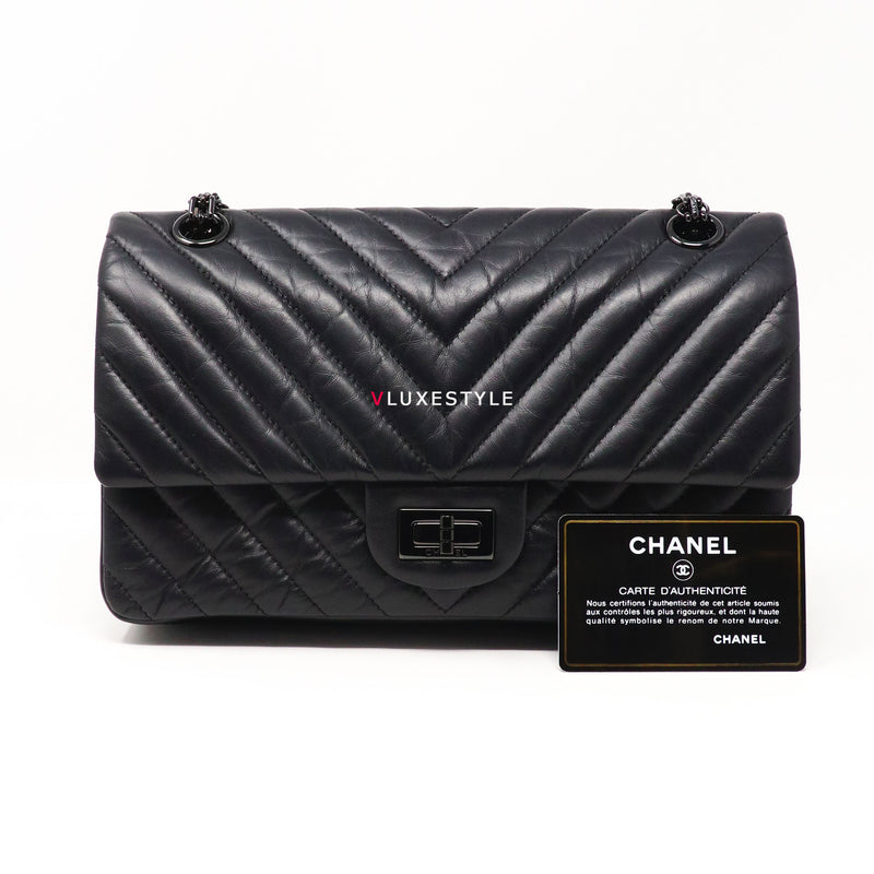 Chanel Reissue Chevron So Black with shiny black hardware size 225