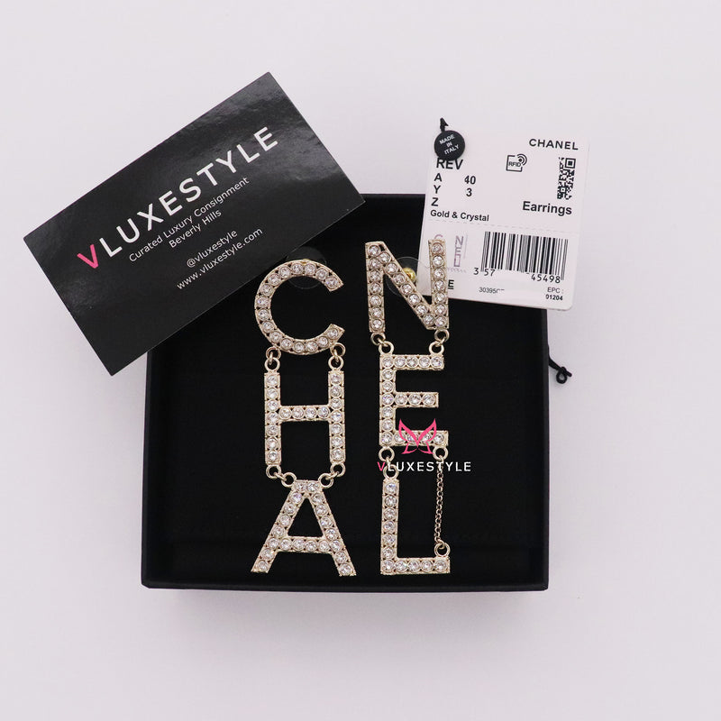 Chanel Runway Crystal Letter Logo Statement Earrings