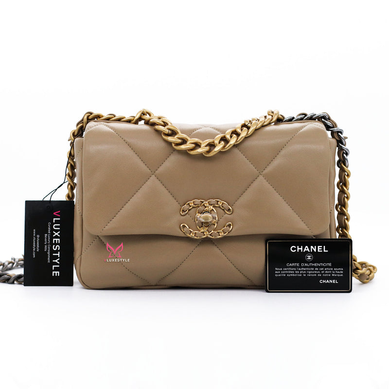 Chanel Small/Medium 19 Flap 21S Dark Beige Lambskin with mixed hardware