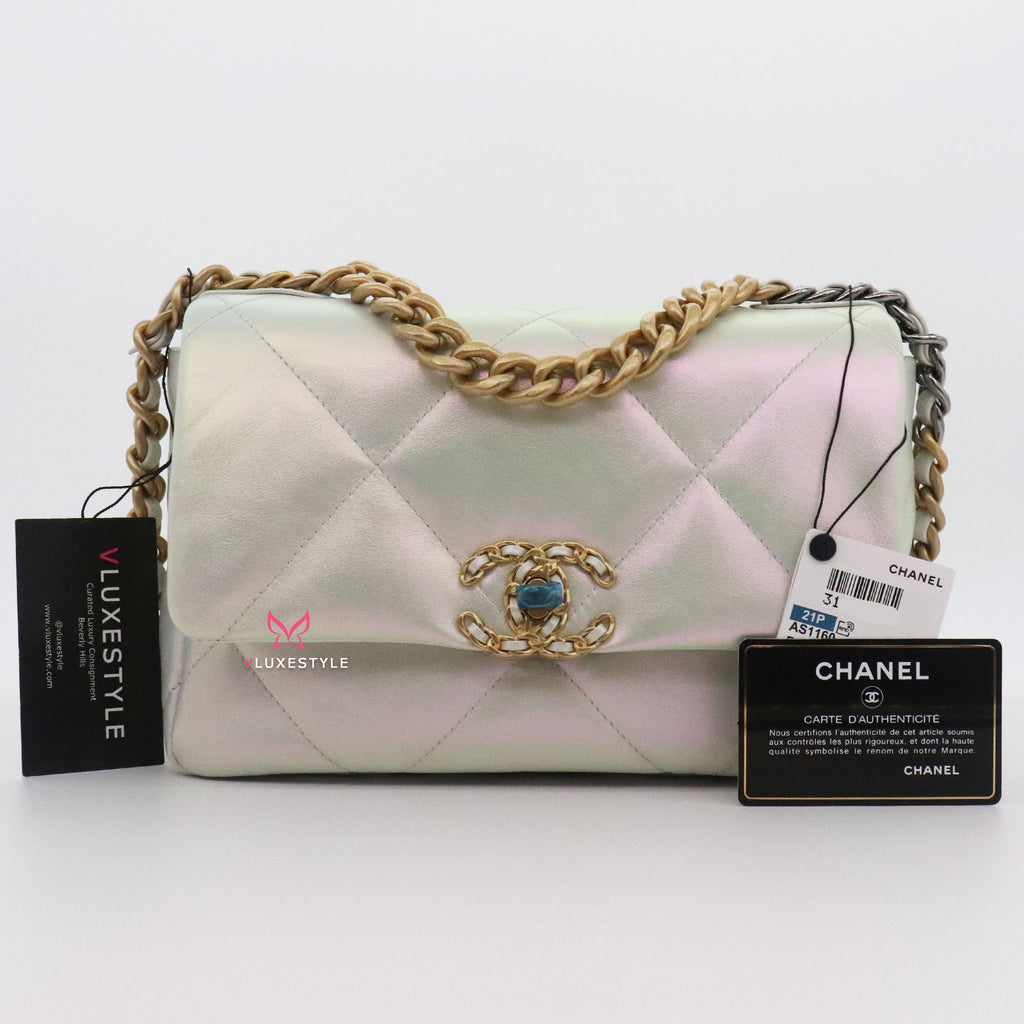 Chanel Small/Medium 19 Flap 21P Iridescent White Calfskin with mixed hardware