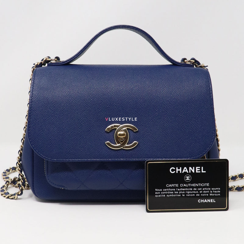 Chanel Small Business Affinity Flap Blue Quilted Caviar with light gold hardware