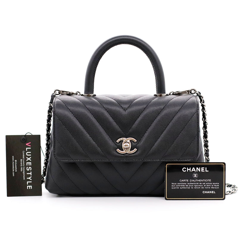 Chanel Mini Coco Handle 19K Black Chevron Caviar with shiny ruthenium hardware