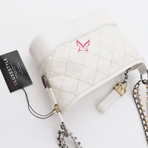 Chanel Small Gabrielle Hobo White Aged Calfskin with brushed gold hardware