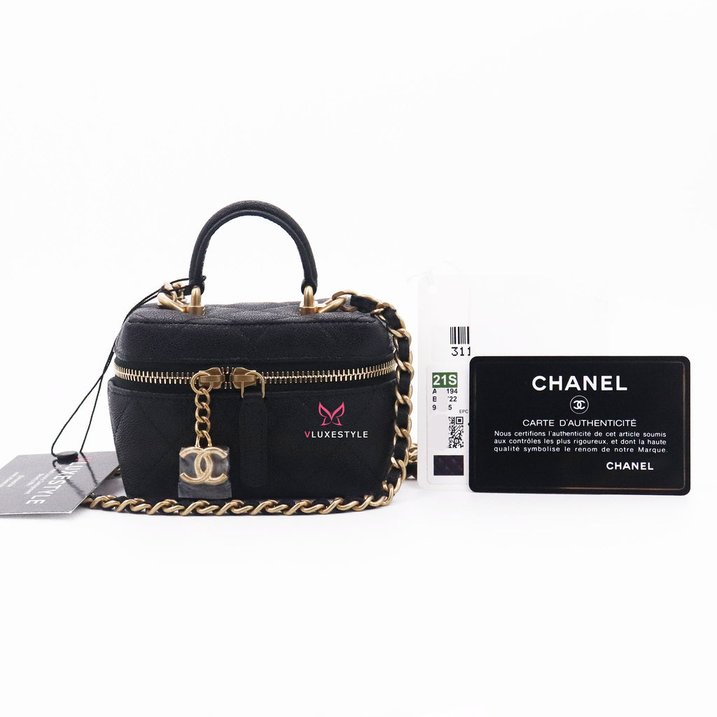 Chanel Small Vanity Case with Handle 21S Black Quilted Caviar with brushed gold hardware