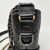 Chanel 18A Small Gabrielle Hobo Black Quilted Aged Calfskin, Smooth Calfskin with mixed hardware
