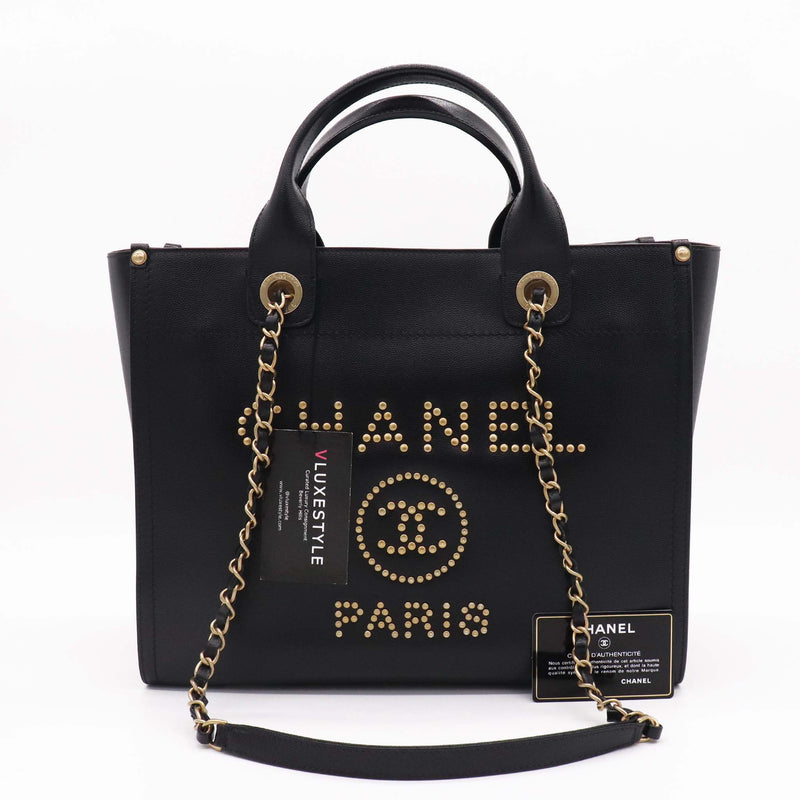 Chanel Small Studded Black Caviar Leather Deauville with brushed gold hardware