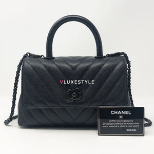 Chanel 18A So Black Mini Coco Handle Chevron Caviar with shiny black hardware