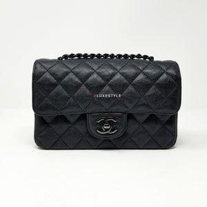 Chanel 17S So Black Classic Mini Rectangular Quilted Crumpled Calfskin with shiny black hardware