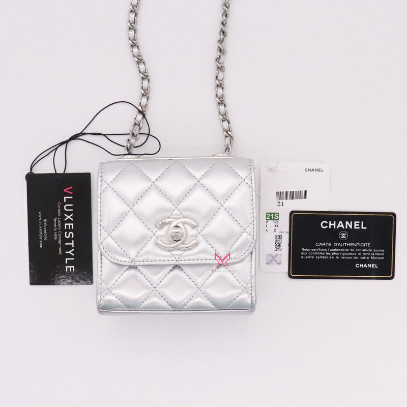 Chanel Trendy Clutch O Chain Metallic 21S Silver Quilted Lambskin with silver hardware