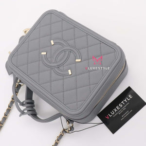 Chanel Vanity Case Medium 20C Gray/Grey Quilted Caviar with light gold hardware