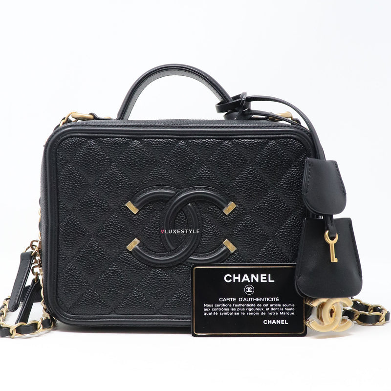 Chanel Vanity Case Medium Black Quilted with brushed gold hardware