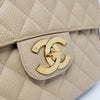 "Chanel Vintage Classic 12"" Jumbo Single Flap Beige Quilted Caviar with 24k gold plated hardware"