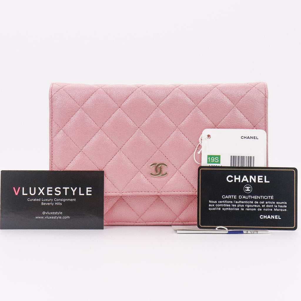 Chanel Classic Wallet on Chain 19S Iridescent Quilted Pink Caviar with light gold hardware