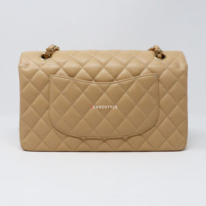 Classic Medium Double Flap Beige Clair Quilted Caviar with gold hardware