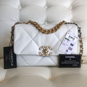 Chanel Small/Medium 19 Flap 20K White Goatskin with mixed hardware