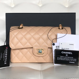 Classic Small Double Flap Beige Quilted Caviar with gold hardware