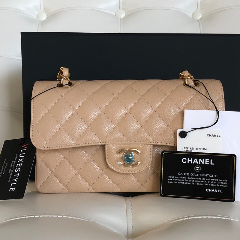 Chanel Classic Small Double Flap Beige Clair Quilted Caviar with gold hardware