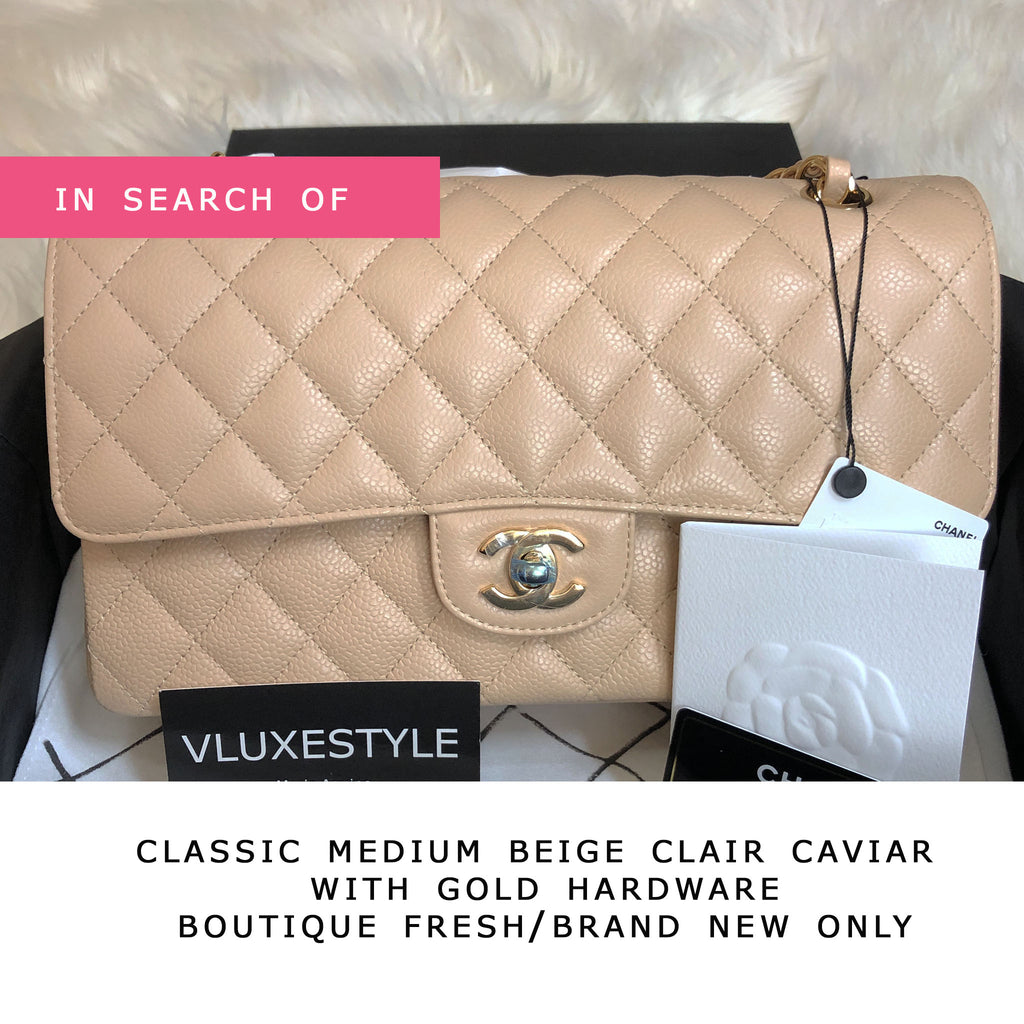 IN SEARCH Chanel Classic Medium Double Flap Beige Clair Quilted Caviar with gold hardware